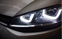 HOT SELL DLAND GOLF VII 7 LED HEADLIGHT HEADLAMP, TYPE U LED DAYLIGHT AND BI-XENON PROJECTOR