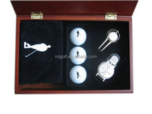 Customized business golf gift--Wood case golf set with golf accessories