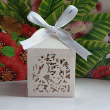 Cute White Bird Laser Cut pearl paper wedding candy box chocolate favour box baby shower gift box christmas new born gift