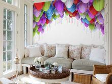 wholesale Eco-friendy 3d huge mural colorful ballons for bedroom &sofas tv wallpaper murals