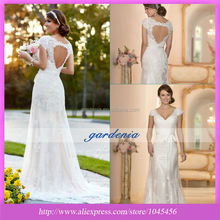 Elegant A Line Wedding Dresses with Sleeves Organza 2014 V Neck Appliques Floor Length Keyhole Back Bridal Gowns DR09301