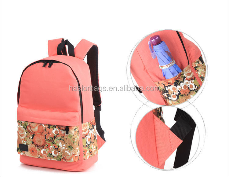 2015 hotstyle newest design flower pattern pretty backpacks for girls