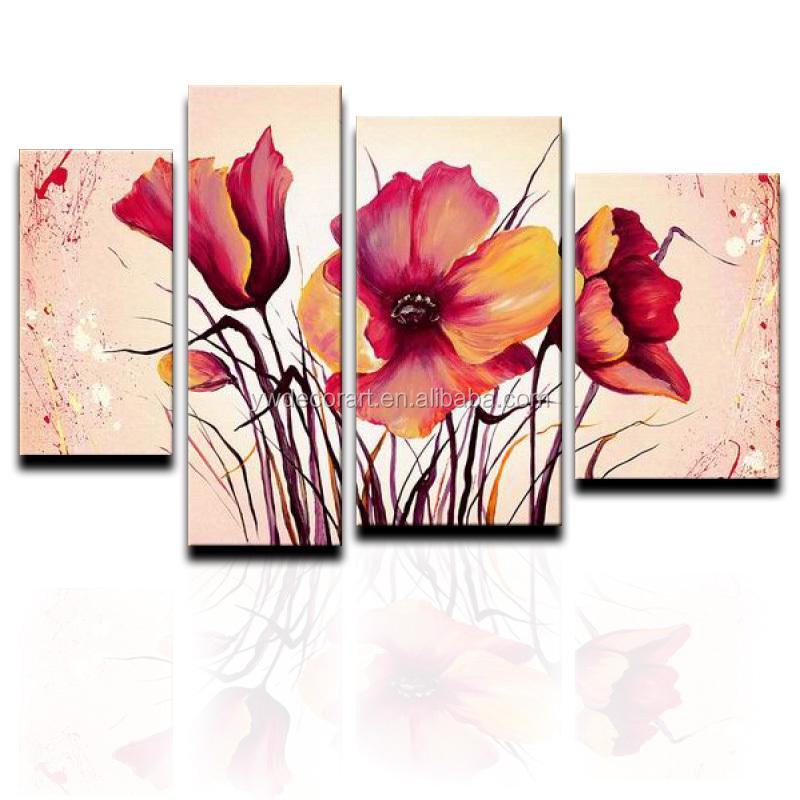 Ofício Da Arte Handmade 4 Painéis Grupo Pintura A Óleo Da Lona Flor Vermelha Decoração Da Parede Imagem
