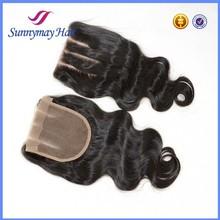 Grade Aliexpress Virgin Hair Brazilian Hair Bleached Knots Lace Closure Body Wave 4x4 3-Way-Part-Closure
