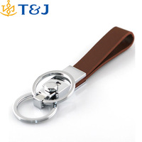 New Fashion Men Key Fob Brown Faux Leather Strap Double Keyring Leather Key Chain/
