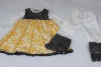 2015 wholesale children clothes children's boutique clothing yellow tops dress boutique pants Christmas baby stock clothes