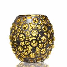 handblown colour glass metal candle holder