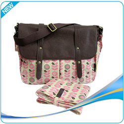 Fashion PU baby use diaper bag leather with changing mat