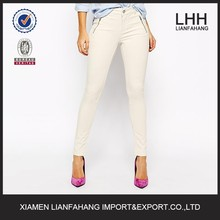 White elegent legging lady jeans with zip accessary