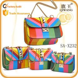 European new rivet small bag genuine leather Rainbow bar chain shoulder bag
