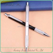 pomotional metal ball point pen silver & black metal click pen