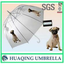 Pug Dog Transparent Dome Bubble Rain Umbrella