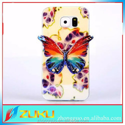 2015 new design 3D blue light butterfly TPU mobile phone cases for Samsung S6