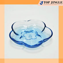 Cute modern flower shape hot sell clear blue plastic hotel bath soap dish