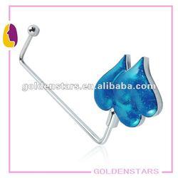 2013 Long hook Charming blue heart purse hook/hanger with heart design