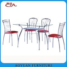 temper glass chrome legs dining room furniture