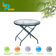 Modern Tempered Hotel Catering Portable Small Stainless Steel Round Glass Folding Dining Table