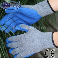 NMSAFETY ecnomic style en388 palm logo blue latex rubber safety work hand gloves