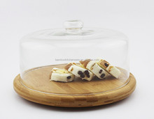 promotional natural glass cheese and bread cover