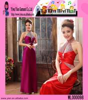 Custom Cheap Hang A Neck Bright Diamond Evening Dress Charming Korean Style Birthday Party Dress Evening Party Dress
