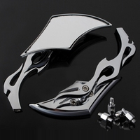 2X Motorcycle Chrome Flame Mirror Blade For Kawasaki Suzuki Triumph 8mm 10mm