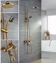 Wall Mount Golden Finish Brass Telephone Shower Faucet Sets QH9003G