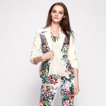 Hot Selling Factory Price White Short Coat Print Contrast Flora From China Guangdong