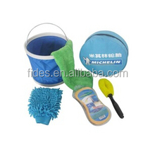 6pcs/set microfiber brush sponge and bucket household washing tools car cleaning set
