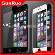 Full Cover edge to edge black & white anti-finger print tempered glass screen protector for iphone 6