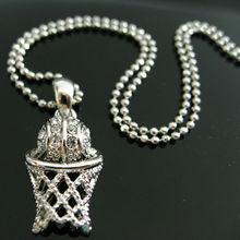 Wholesale Sports Themed Jewelry Basketball with Net Pendant Rhinestone Charm Neckalce