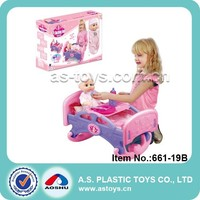 Play At Home girl pretend play set lovely pink plastic sleeping bed with doll