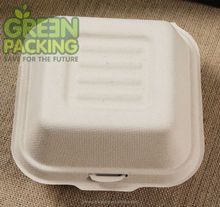 Biodegradable bamboo fiber clamshell/ bamboo food container