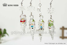 Crystal acrylic Ice shape painting christmas hanging ornament with snowman ornament