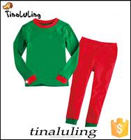 2015 christmas plain pajamas set green t shirt and red pants wholesale cotton pajamas