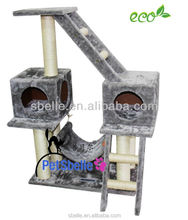 Good quality cat product with stair and hammock toy cat tree made in China