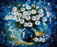 Cheap Simple Beautiful Design Modern Art Work Daisies Flower Oil Painting on Canvas