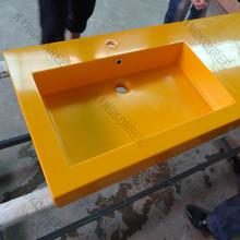 modern home design pure orange solid surface bathroom washbasin