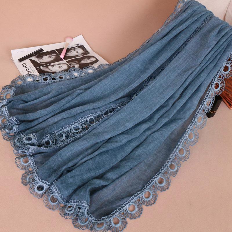 Vente CHAUDE die tye coton châle wrap avec cercle dentelle côté foulard islamique écharpe femmes hijab