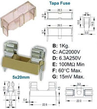 Portafusibles para circuito impreso para fusibles 5x20 mm