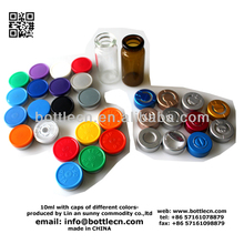 20mm 10ml crimp top clear glass bottle vials with cap rubber stoppers
