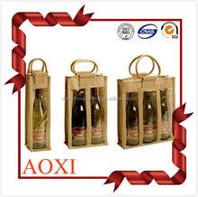 Heat-transfer printed eco-friendly promotional custom wine bottle jute bag