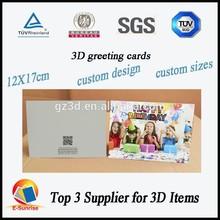 Moda tarjeta de felicitación / 3d lenticular tarjeta de felicitación / la mejor desea la tarjeta de felicitación