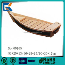 Japanese style black natural wooded sushi boat for health food plate supplies