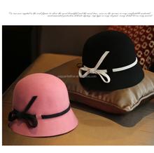 women wool felt bucket hat ,girl's fedora hat