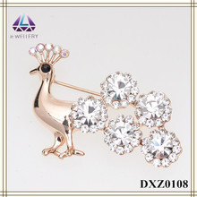 Fashion Jewelry Peacock Crystal Small Wedding Invitation Decorative Brooch Pins