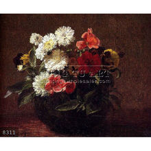 Handpainted Classic Still Life flower designs fabric painting, Flowers In A Clay Pot