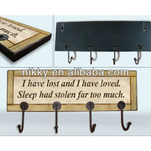 Motto letter wooden decorative wall hanging hooks
