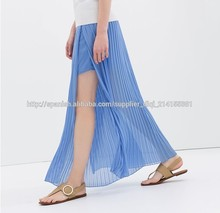 2015 diseño más reciente maxi baratos larga falda plisada en gasa