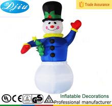 Dj-182 inflável boneco de neve de natal decorativa coloridas ao ar livre azul pano preto top hats