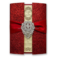 2015 Royal gatefold glitter style invitation card for wedding